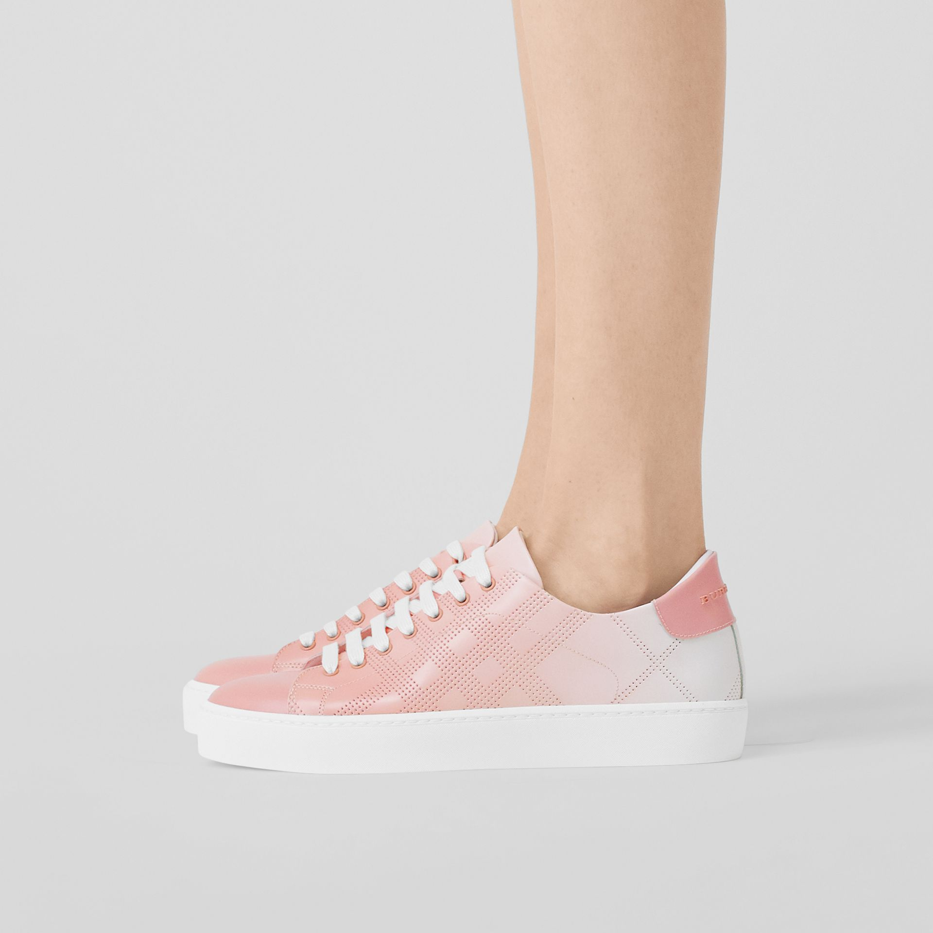 Perforated Check Dégradé Leather Sneakers in Sugar Pink - Women | Burberry - gallery image 2