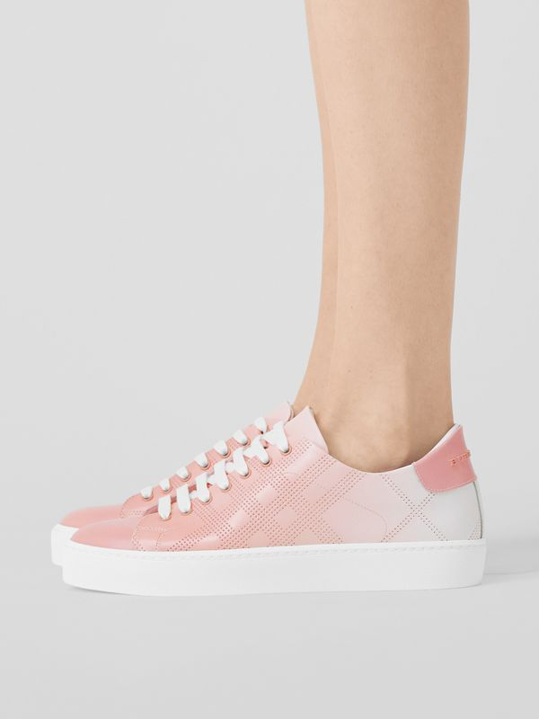 Perforated Check Dégradé Leather Sneakers in Sugar Pink - Women | Burberry - cell image 2