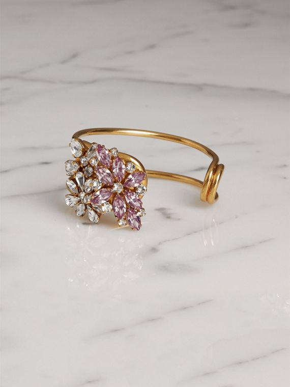 Crystal Daisy Brass Cuff in Pale Lavender