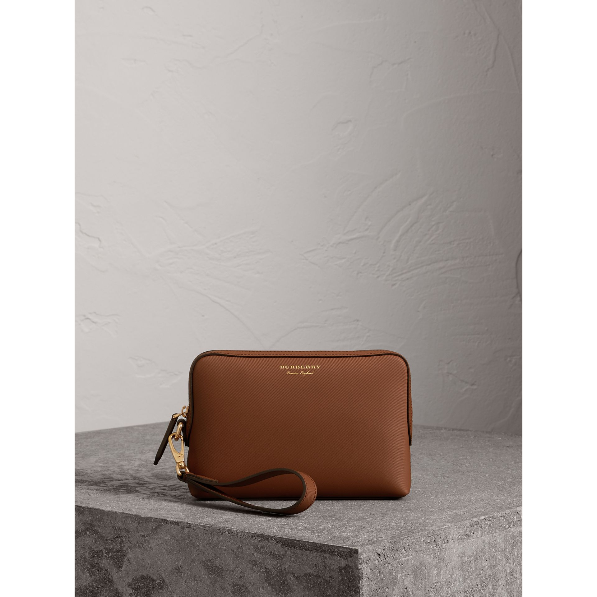 Trench Leather Pouch in Tan | Burberry United Kingdom - gallery image 0