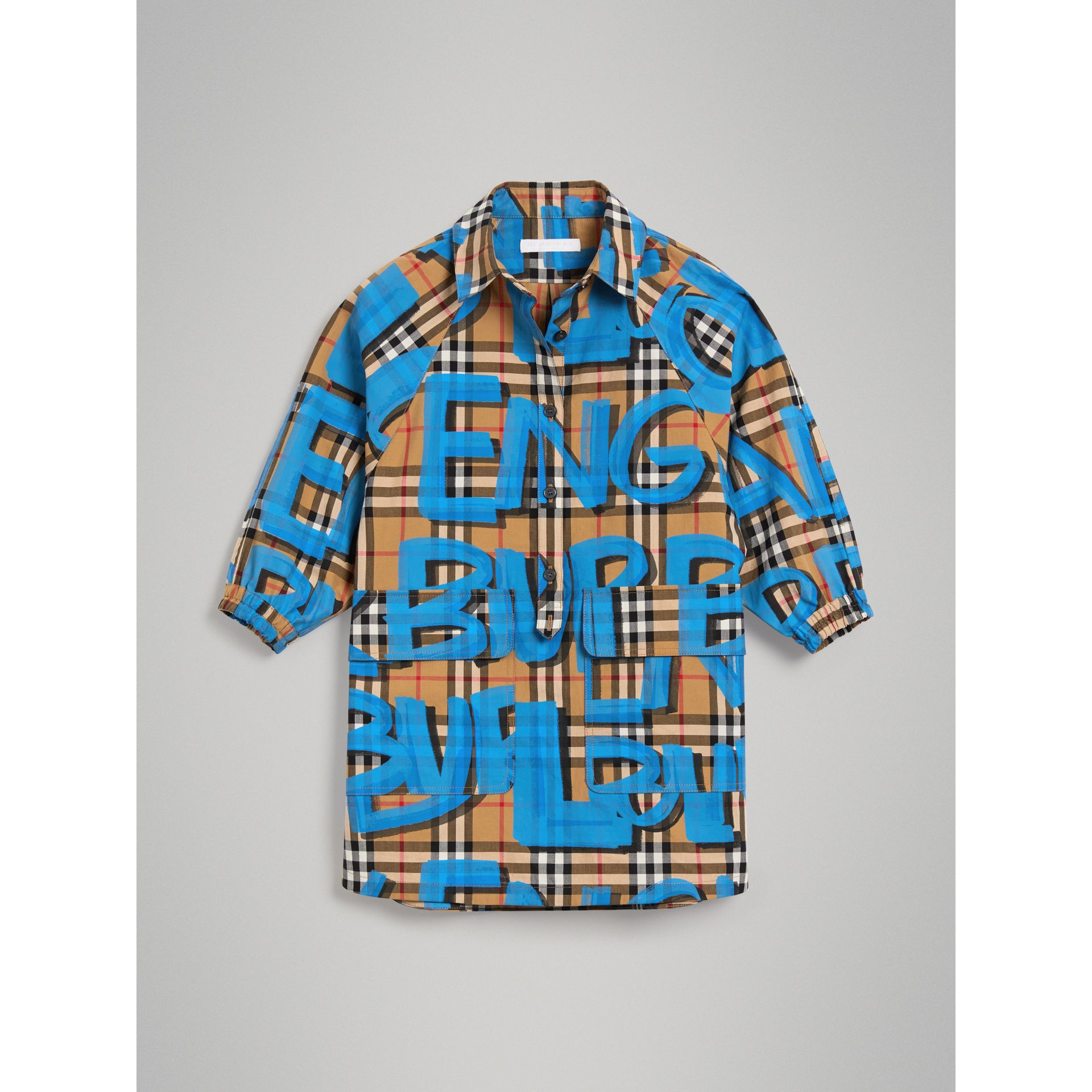 Graffiti Print Vintage Check Cotton Shirt Dress in Bright Blue | Burberry - gallery image 0