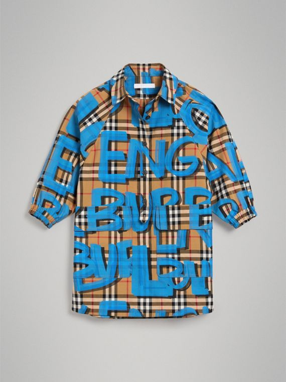 Graffiti Print Vintage Check Cotton Shirt Dress in Bright Blue