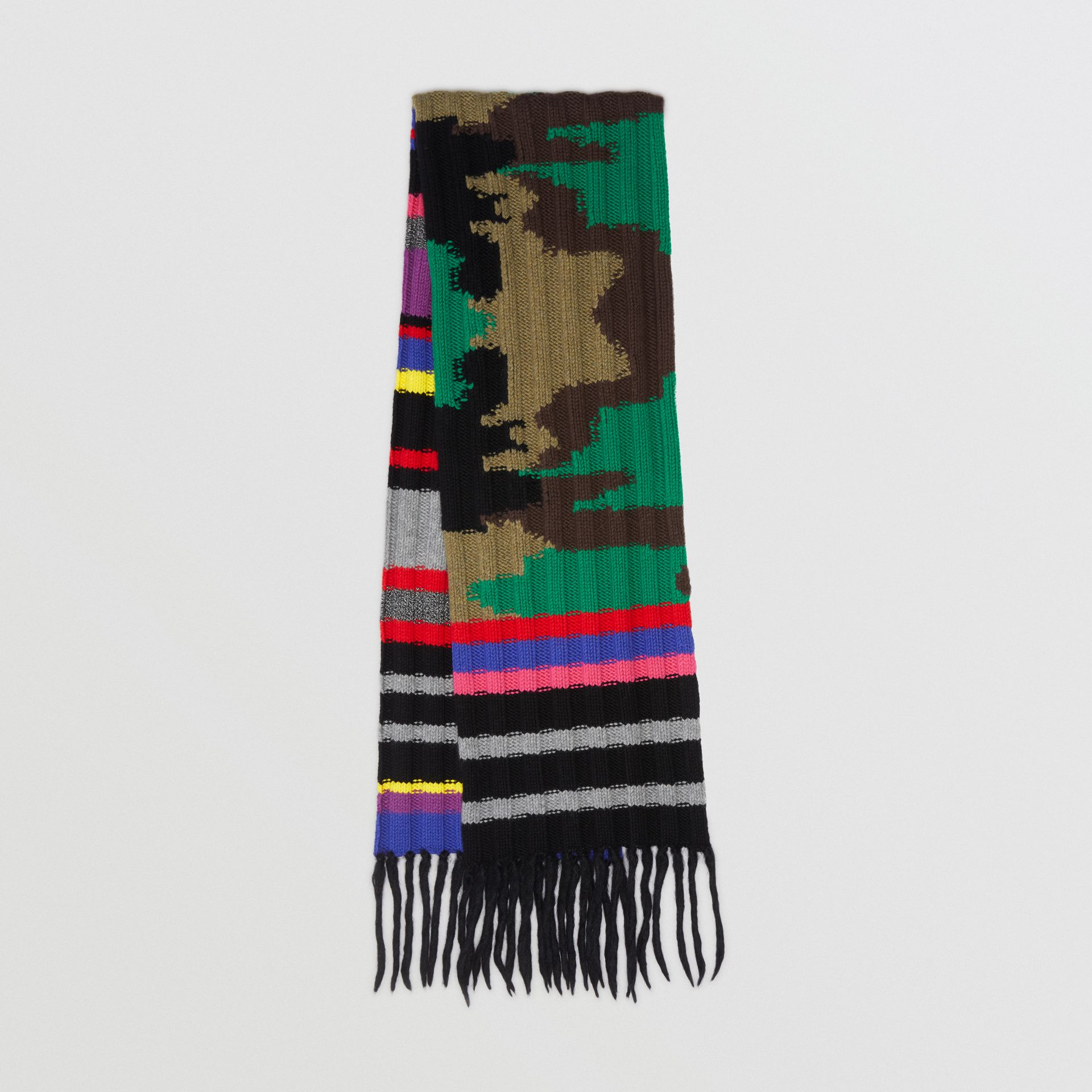 Striped Camouflage Chunky Knit Cashmere Wool Scarf in Multicolour | Burberry - gallery image 0
