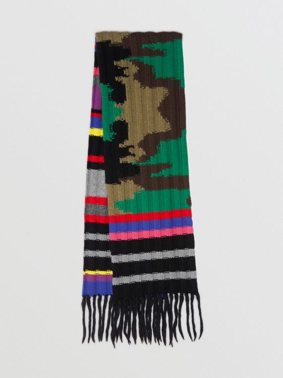 Striped Camouflage Chunky Knit Cashmere Wool Scarf in Multicolour