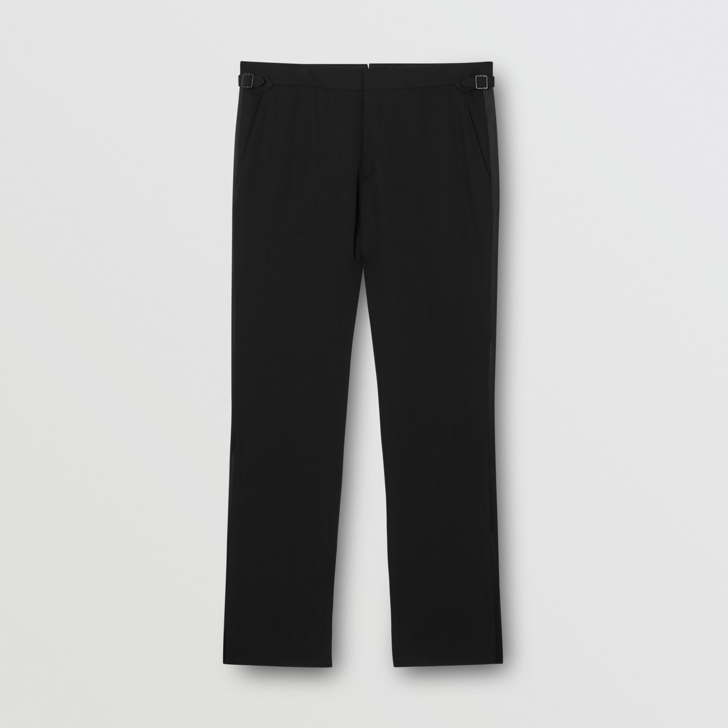 Classic Fit Silk Trim Wool Tailored Trousers in Black - Men | Burberry Canada - 4