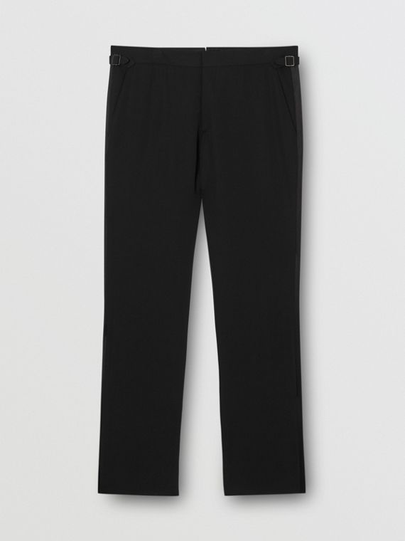 Classic Fit Silk Trim Wool Tailored Trousers in Black