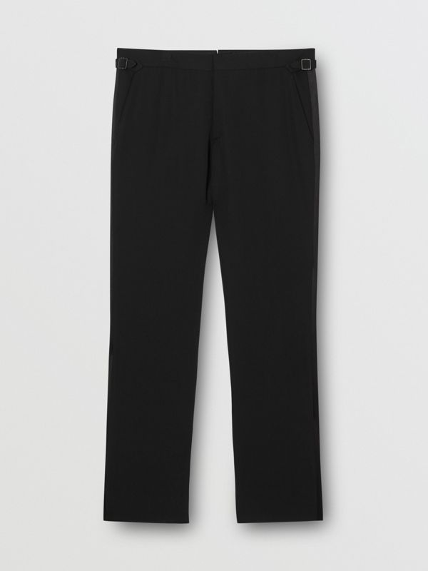 Classic Fit Silk Trim Wool Tailored Trousers in Black - Men | Burberry - cell image 3