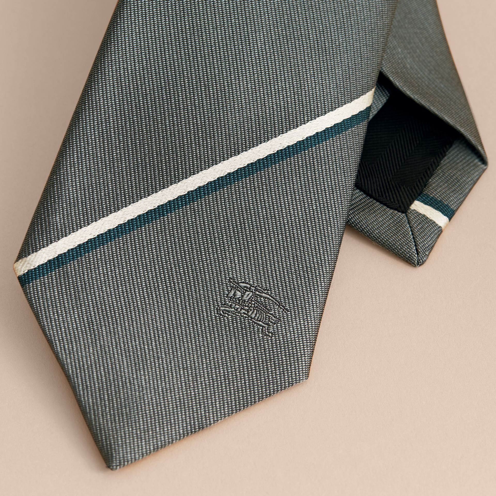 Slim Cut Striped Silk Tie in Sea Green - gallery image 2