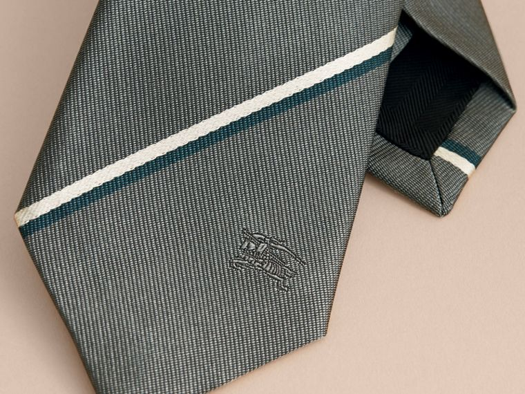 Slim Cut Striped Silk Tie in Sea Green - Men | Burberry - cell image 1