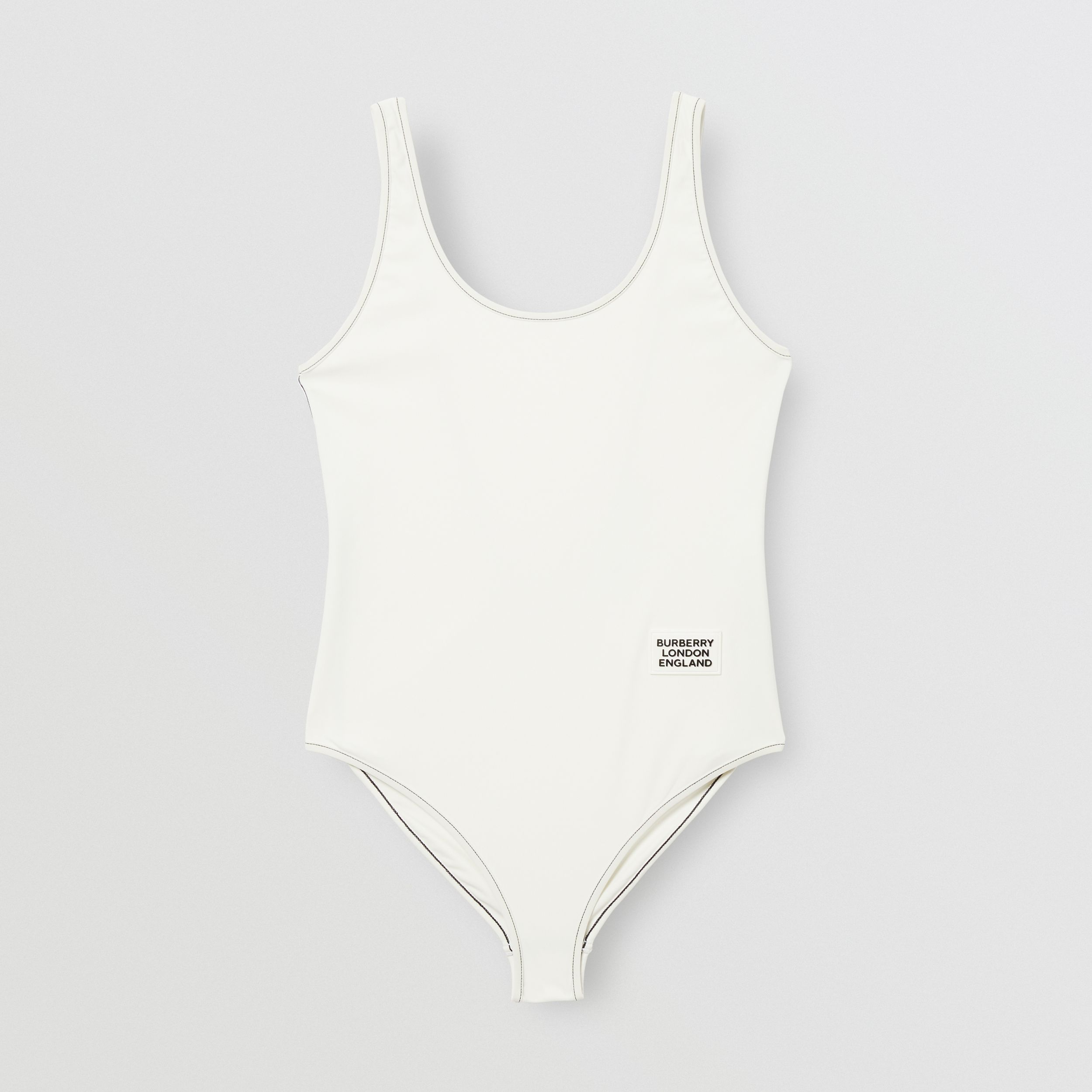 Logo Detail Swimsuit in White | Burberry Australia - 4