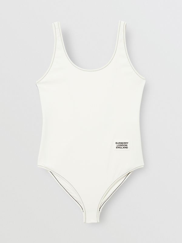 Logo Detail Swimsuit in White - Women | Burberry - cell image 3