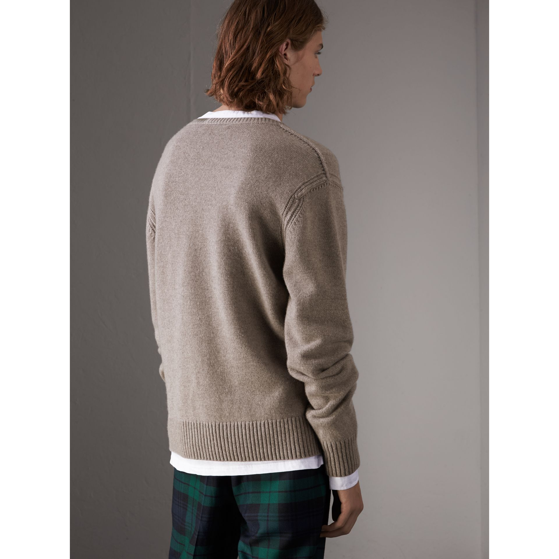 Open-knit Detail Wool Cashmere Sweater in Camel Melange - Men | Burberry United States - gallery image 3