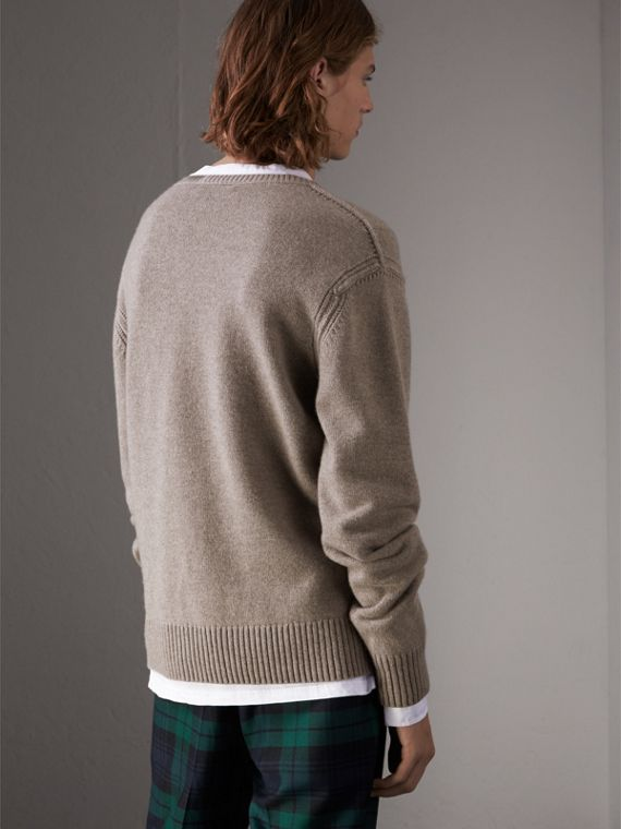 Open-knit Detail Wool Cashmere Sweater in Camel Melange - Men | Burberry United States - cell image 2