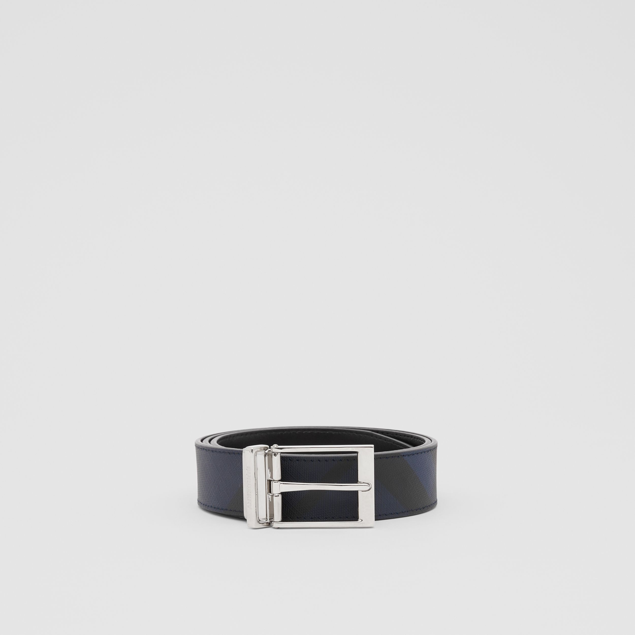 Reversible London Check and Leather Belt in Navy/black - Men | Burberry - 4