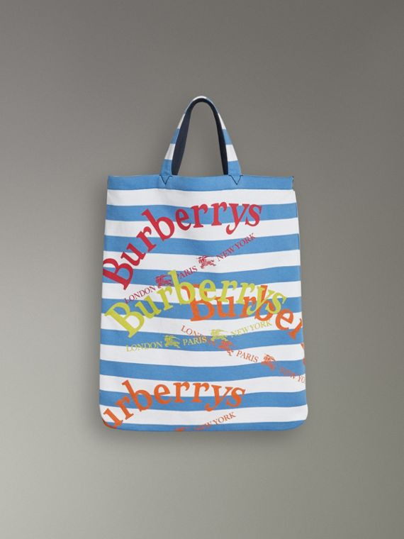 Medium Archive Logo Striped Jersey Shopper in Sky Blue/white