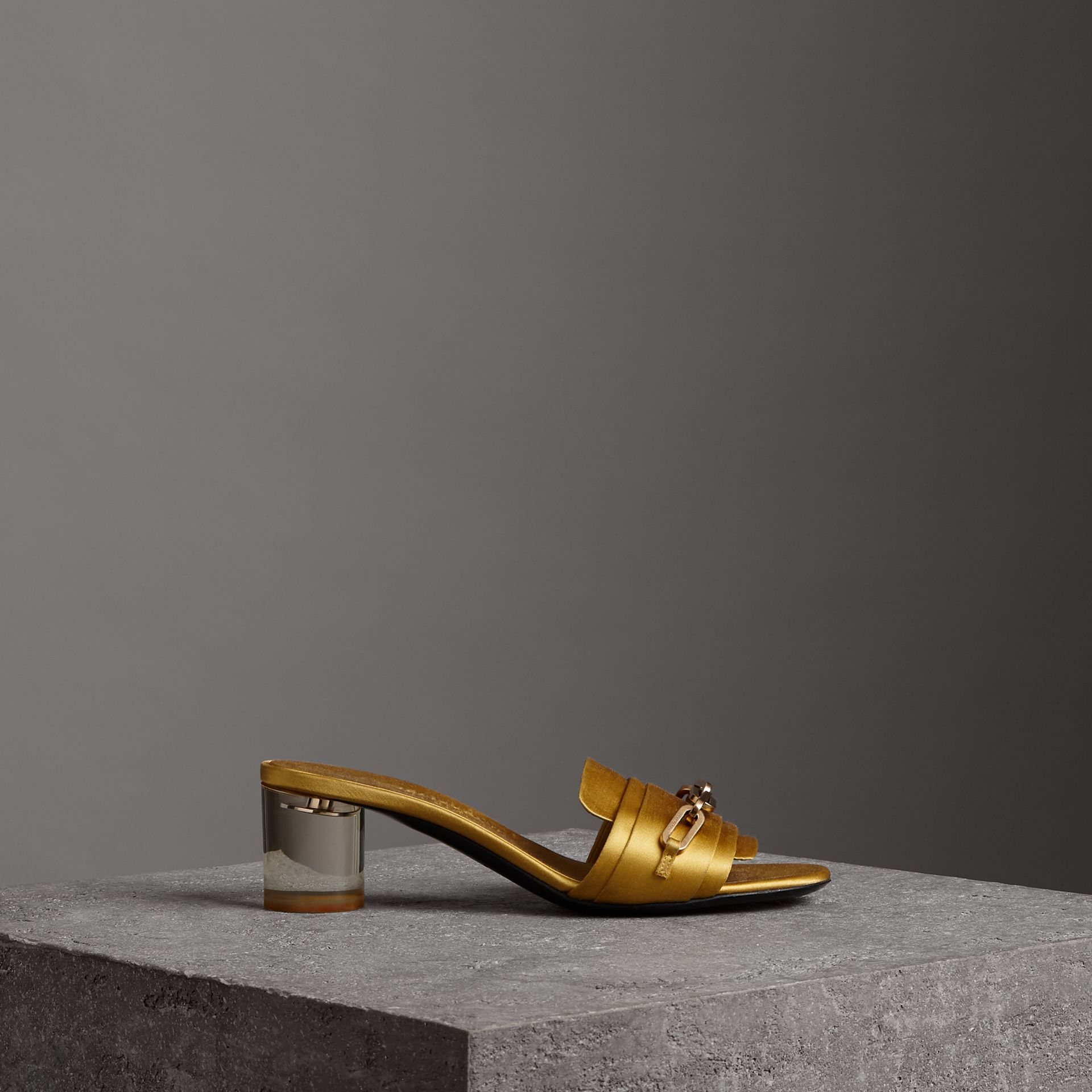 Link Detail Satin Heeled Slides in Antique Yellow - Women | Burberry - gallery image 0