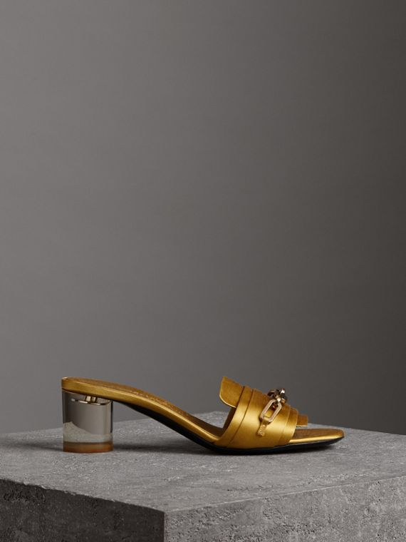 Link Detail Satin Heeled Slides in Antique Yellow