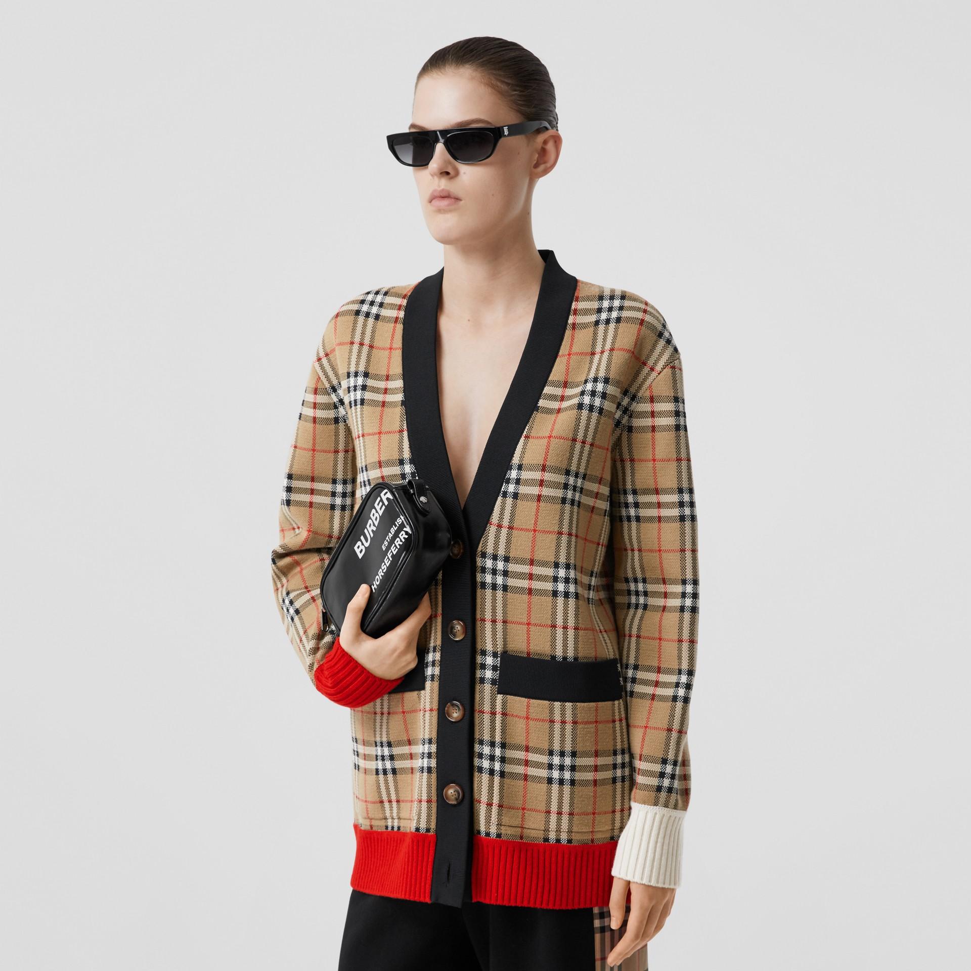Vintage Check Merino Wool Blend Jacquard Cardigan in Archive Beige - Women   Burberry - gallery image 5