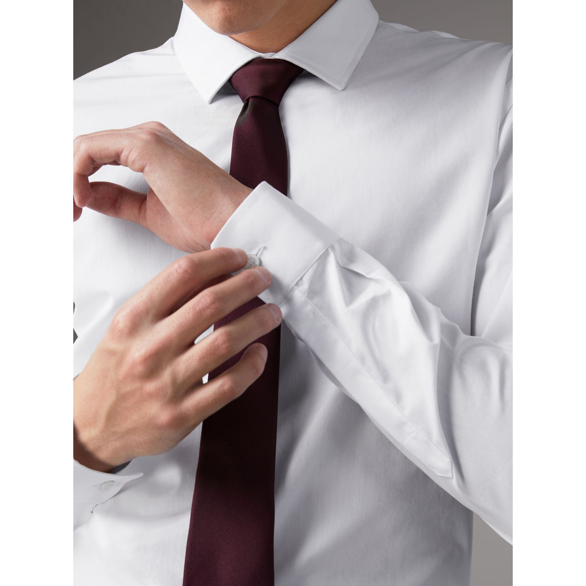 Slim Fit Cotton Poplin Shirt in White - Men | Burberry Singapore - gallery image 1