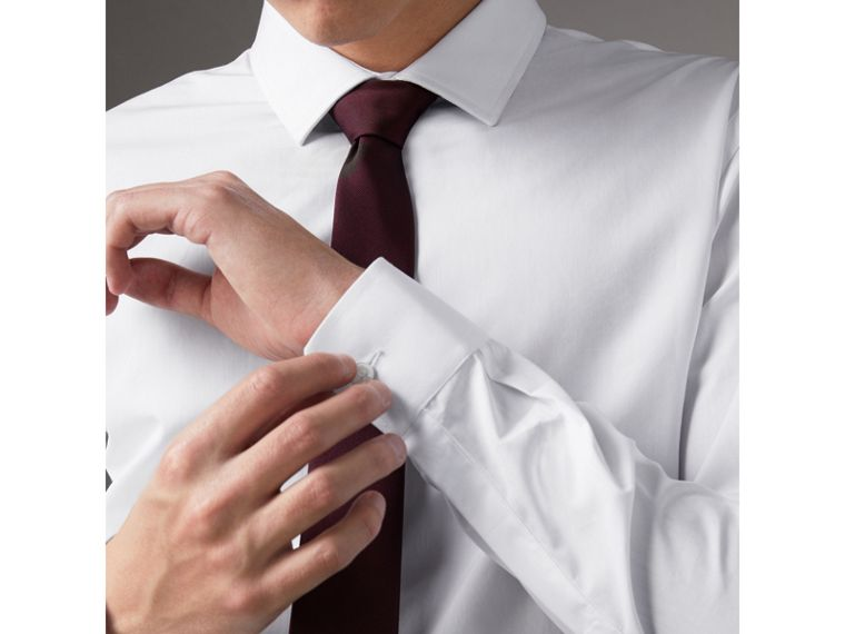 Slim Fit Cotton Poplin Shirt in White - Men | Burberry Canada - cell image 1