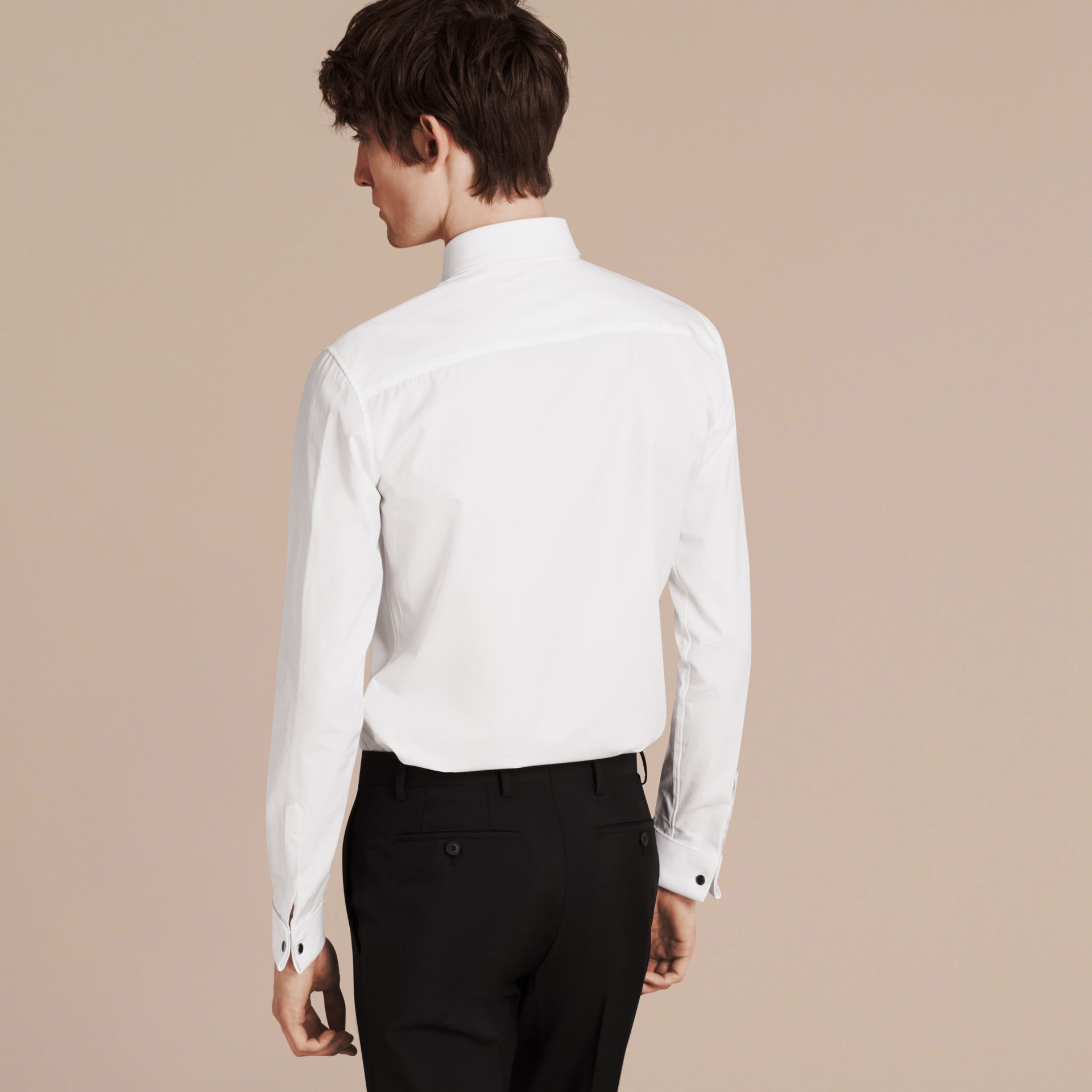 White Slim Fit Double-cuff Cotton Poplin Shirt - gallery image 3