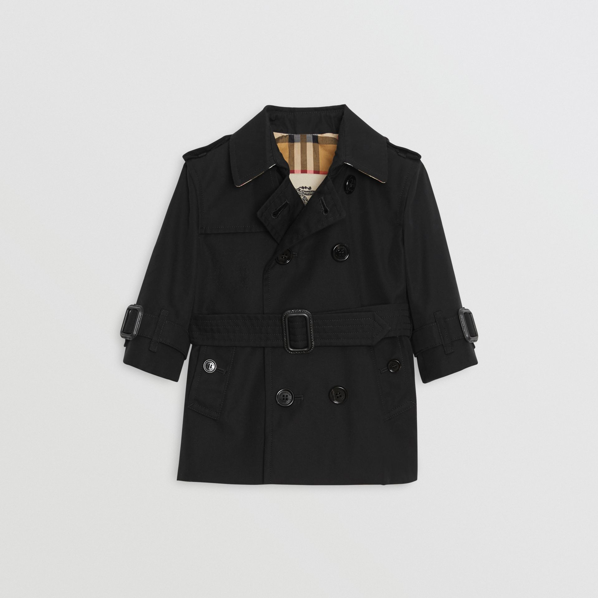 Cotton Gabardine Trench Coat in Black - Children | Burberry Canada - gallery image 2
