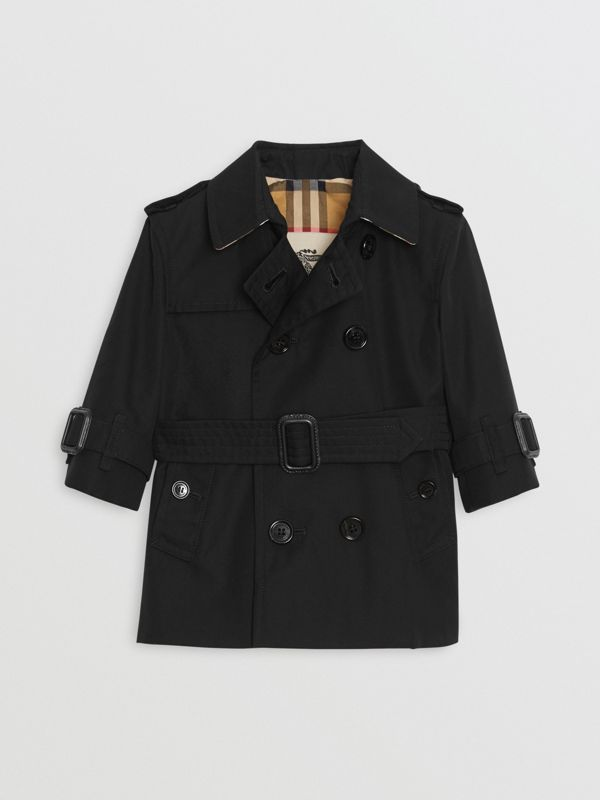 Cotton Gabardine Trench Coat in Black - Children | Burberry - cell image 2
