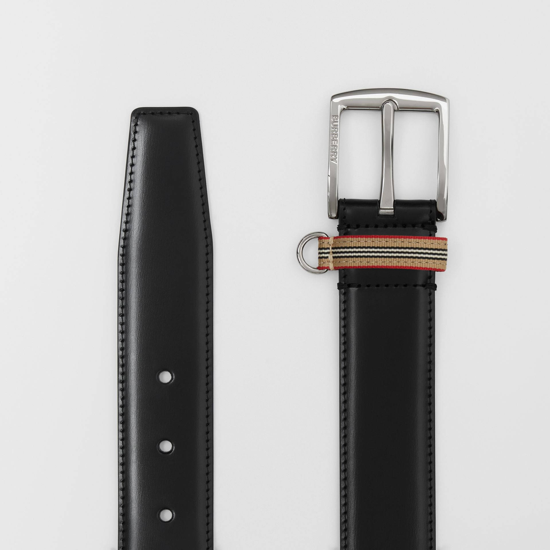 Icon Stripe Detail Leather Belt in Black | Burberry United Kingdom - gallery image 5