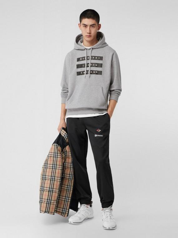 Sweat-shirt à capuche en coton à imprimé ruban adhésif (Camaïeu De Gris Pâles)