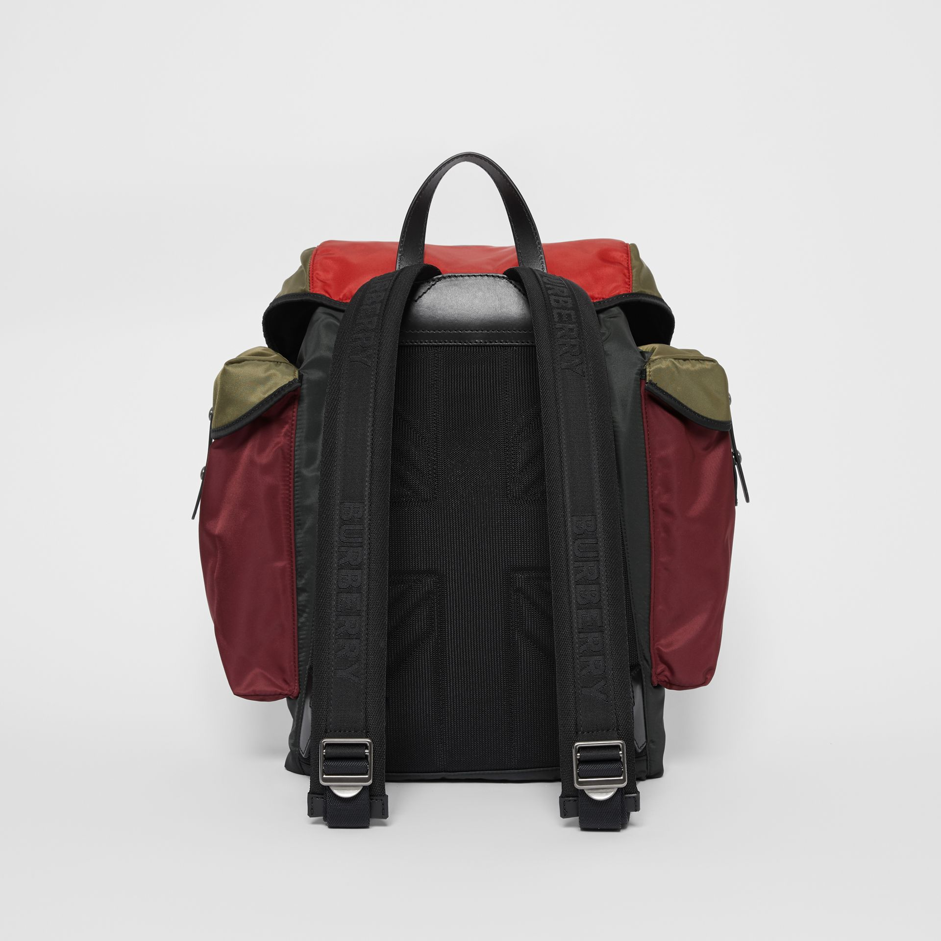 Large Leather Trim Colour Block Nylon Backpack in Multicolour | Burberry - gallery image 3