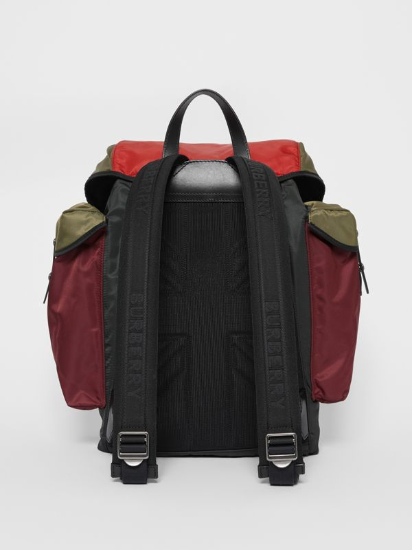 Large Leather Trim Colour Block Nylon Backpack in Multicolour | Burberry - cell image 3