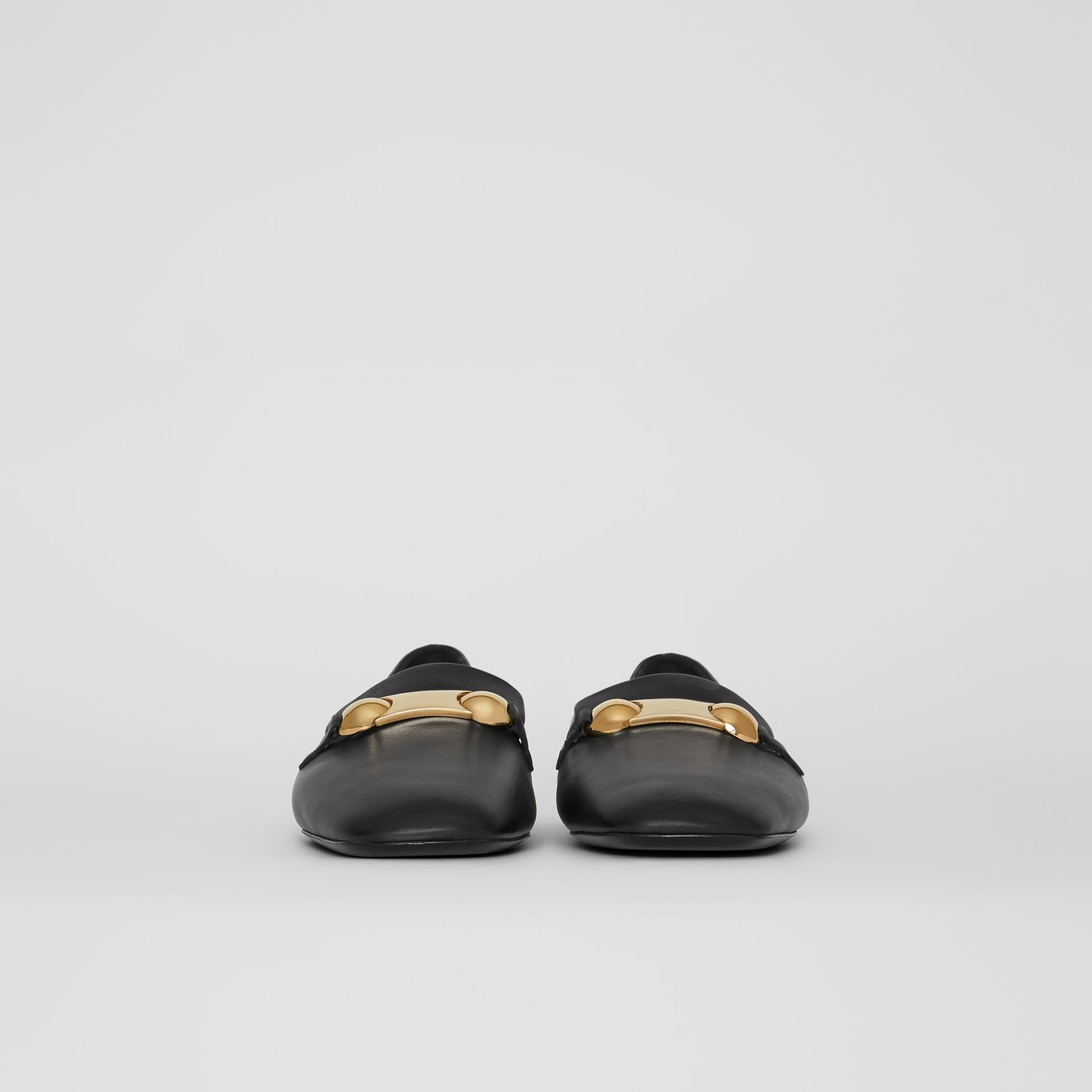Studded Bar Detail Leather Loafers in Black - Women | Burberry - gallery image 3