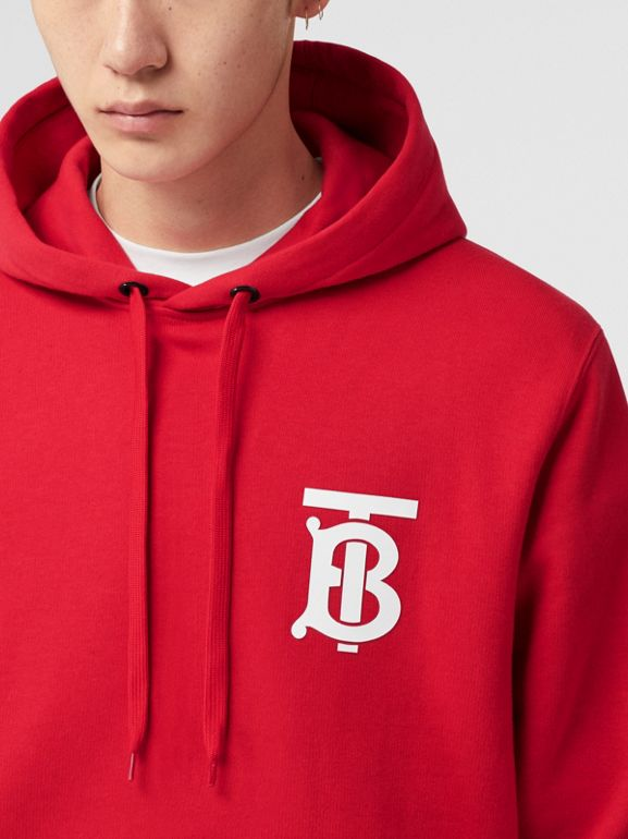 Monogram Motif Cotton Hoodie in Bright Red - Men | Burberry United Kingdom - cell image 1