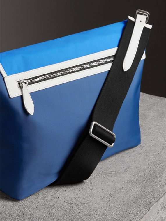 Large Tri-tone Nylon and Leather Messenger Bag in Deep Cerulean Blue - Men | Burberry - cell image 2