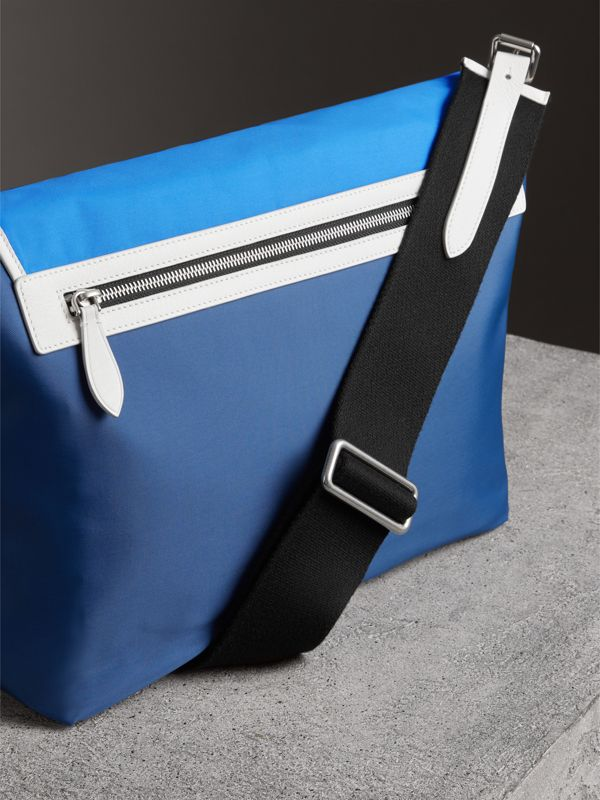 Large Tri-tone Nylon and Leather Messenger Bag in Deep Cerulean Blue - Men | Burberry Canada - cell image 2