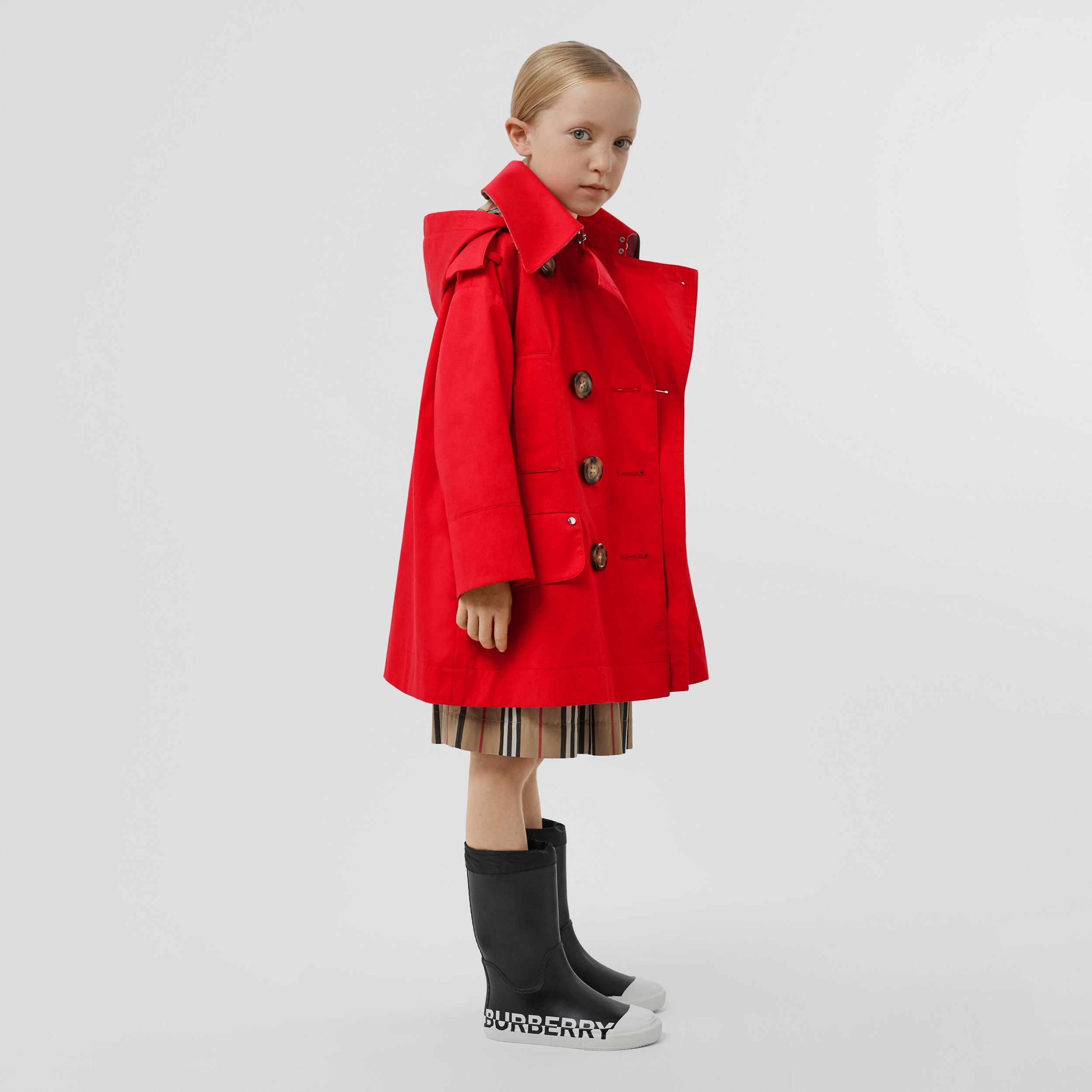 Cotton Twill Hooded Trench Coat in Bright Red | Burberry - 3