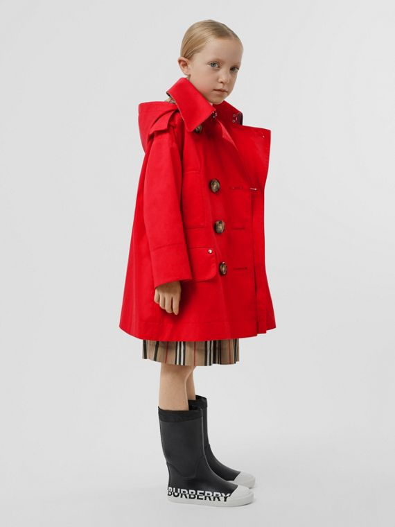Cotton Twill Hooded Trench Coat in Bright Red