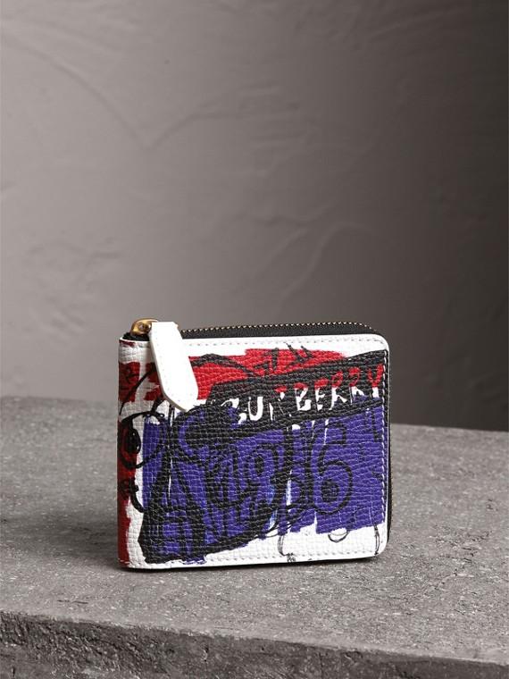 Lederbrieftasche mit Doodle-Motiv und Reißverschluss (Weiss)
