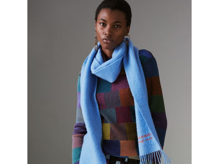 Embroidered Cashmere Fleece Scarf in Blue Topaz | Burberry - cell image 4