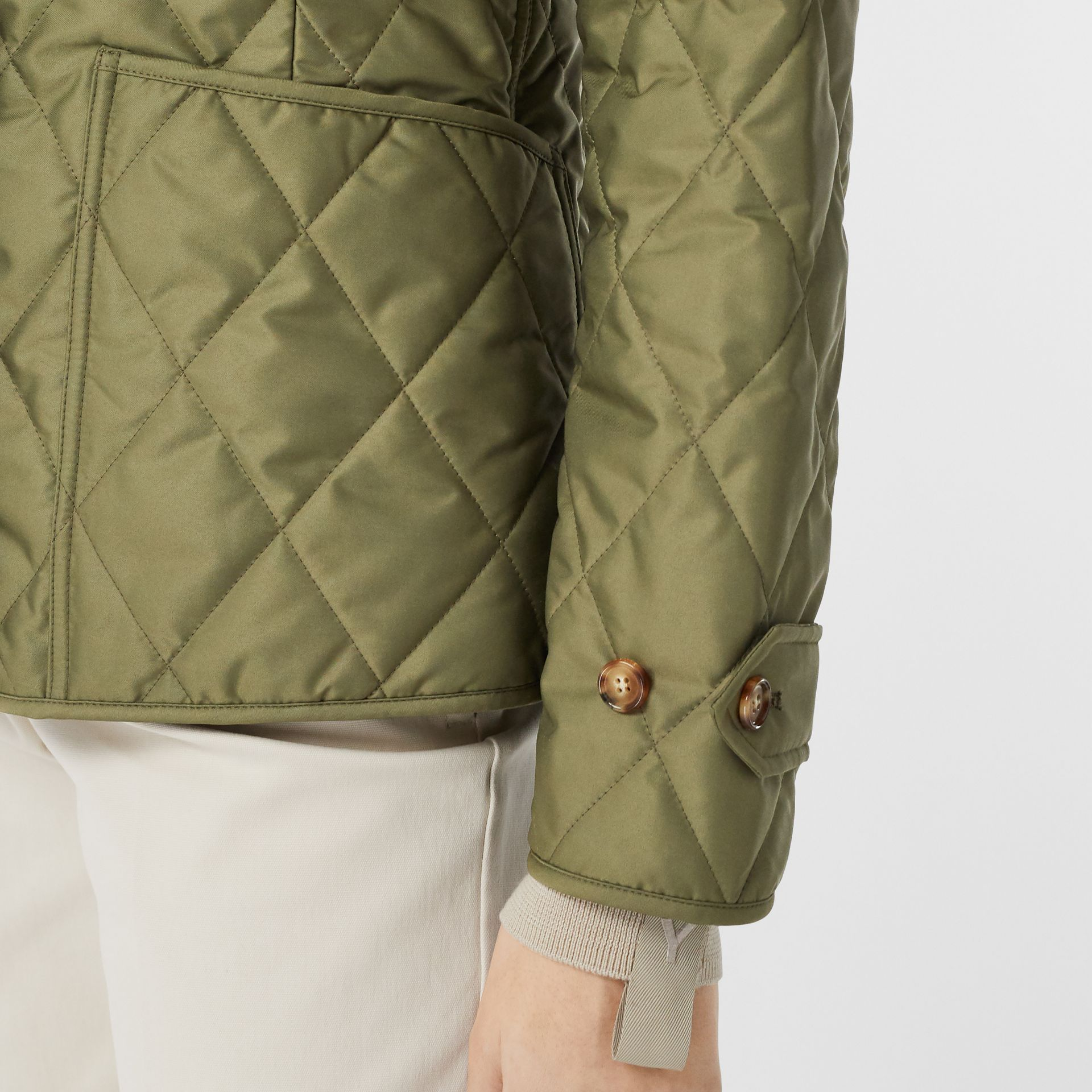 Diamond Quilted Thermoregulated Jacket in Olive Green - Women | Burberry - gallery image 5