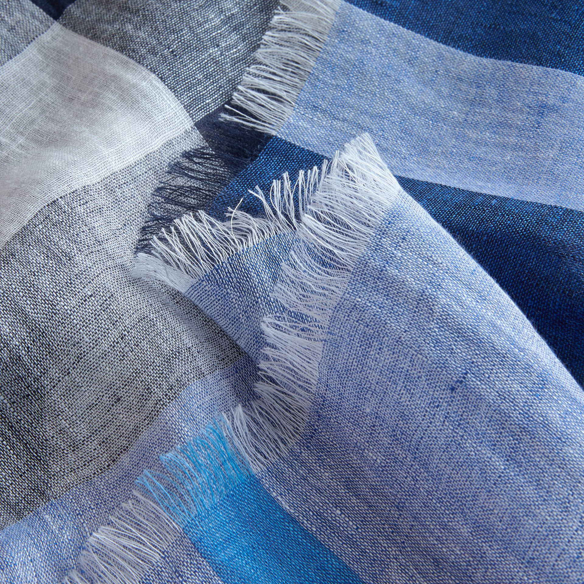Lightweight Check Linen Scarf in Chalk Blue | Burberry Australia - gallery image 2