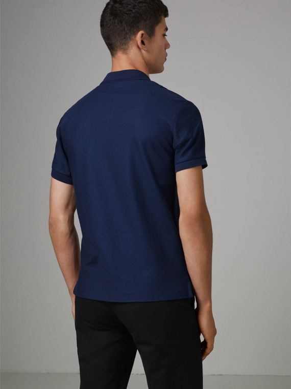 Archive Logo Cotton Piqué Polo Shirt in Navy - Men | Burberry United Kingdom - cell image 2