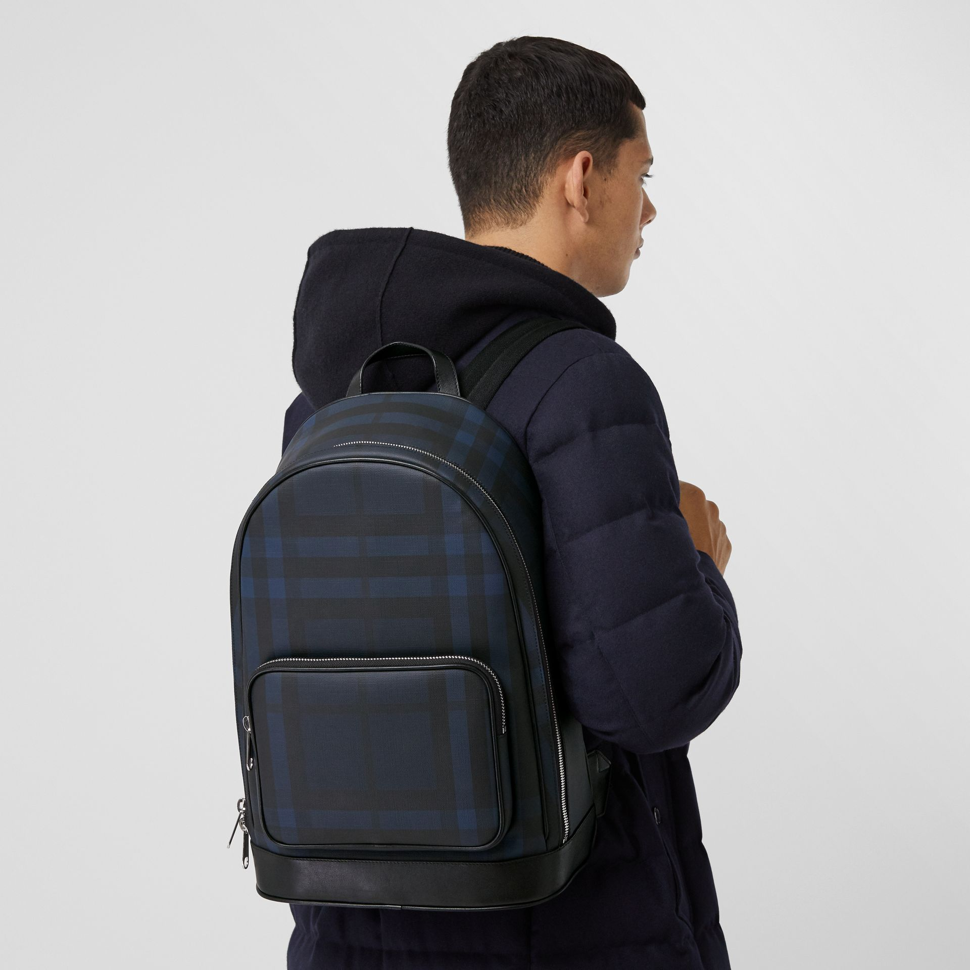 London Check and Leather Backpack in Navy | Burberry United Kingdom - gallery image 3