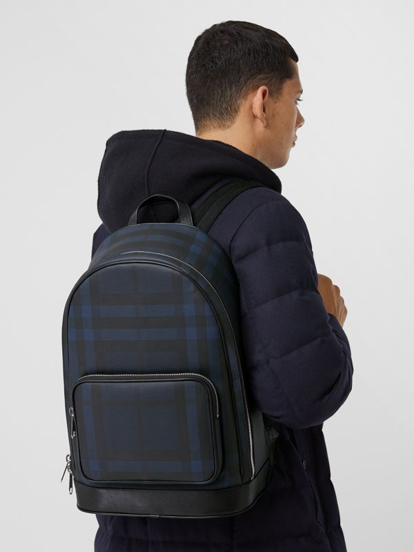 London Check and Leather Backpack in Navy | Burberry - cell image 3