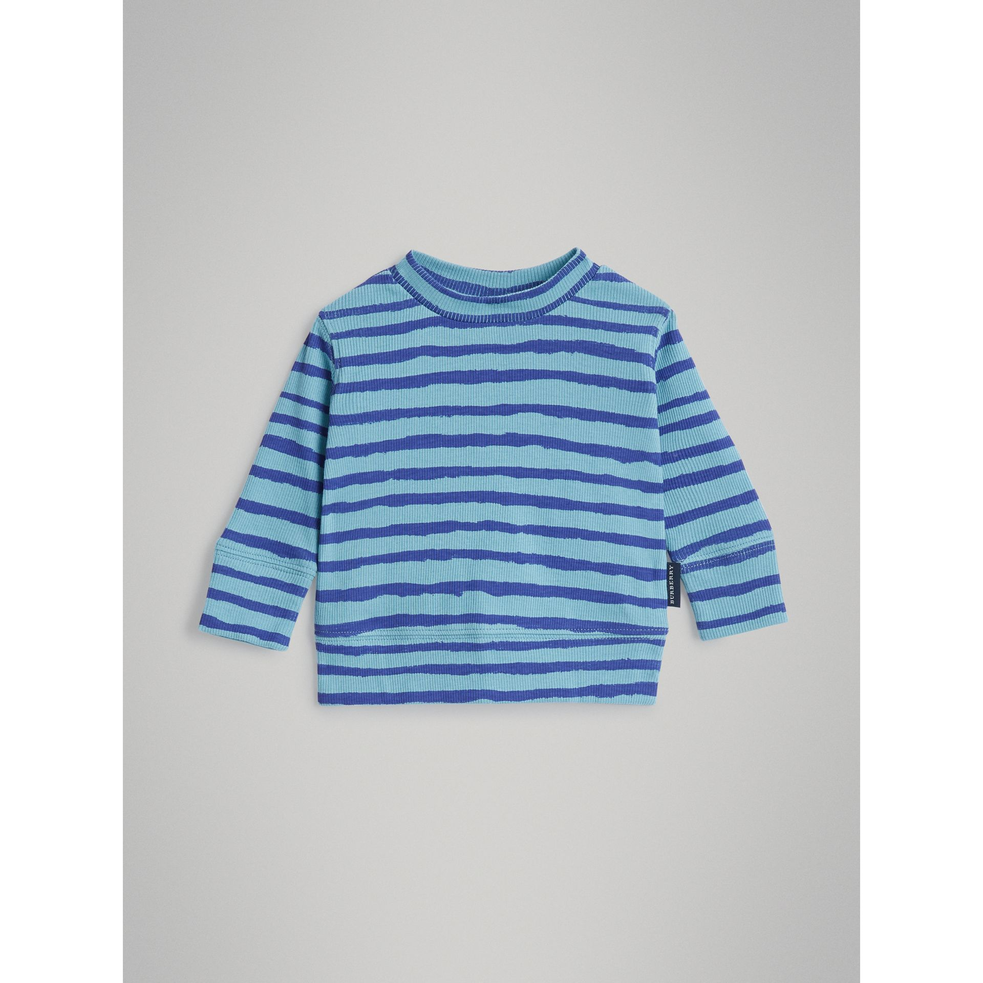Striped Cotton Two-piece Baby Gift Set in Teal | Burberry - gallery image 2