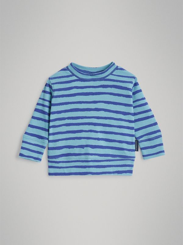 Striped Cotton Two-piece Baby Gift Set in Teal - Children | Burberry - cell image 2