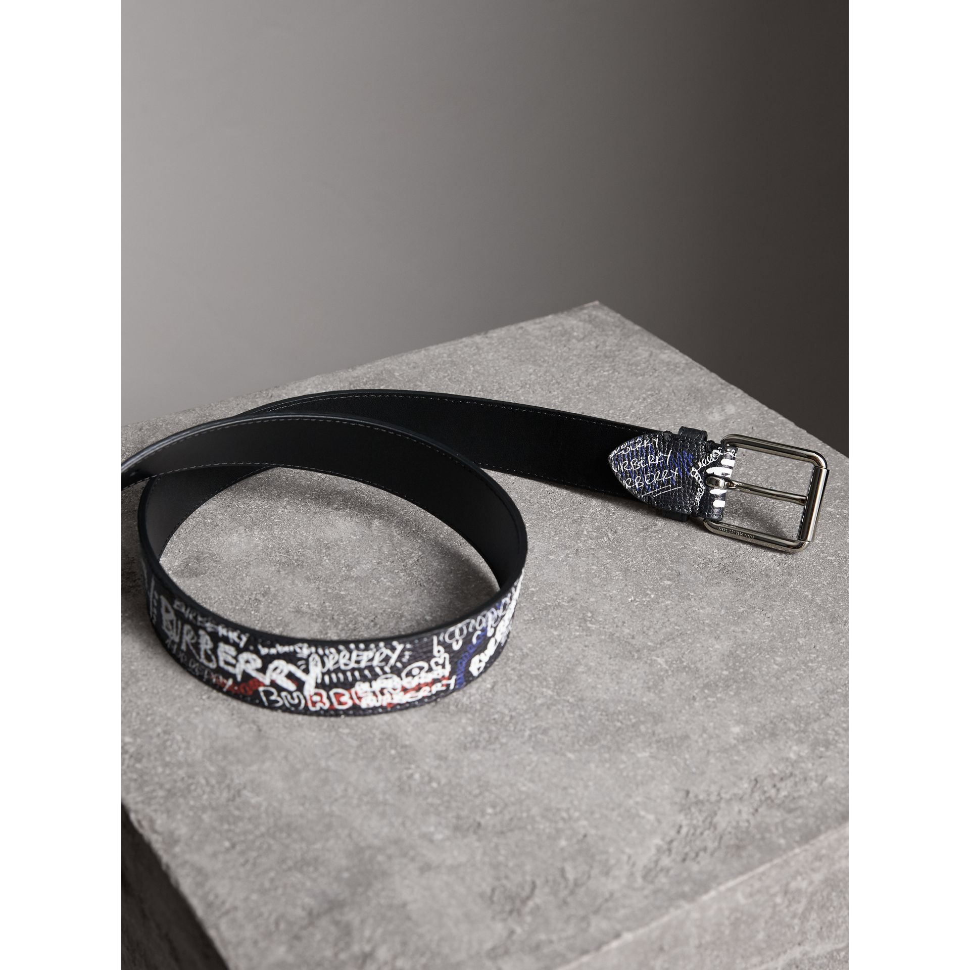 Doodle Print Leather Belt in Black - Men | Burberry - gallery image 2
