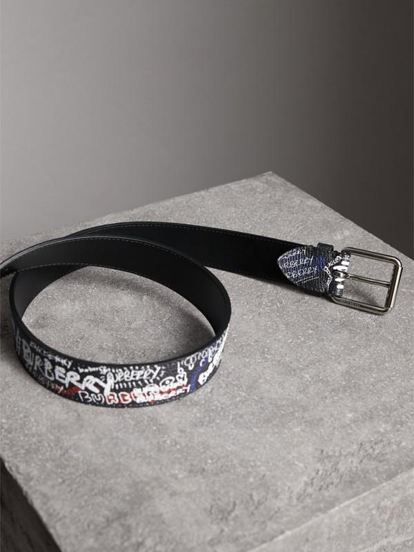 Doodle Print Leather Belt in Black - Men | Burberry - cell image 2