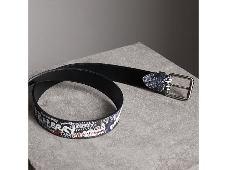 Doodle Print Leather Belt in Black - Men | Burberry - cell image 2