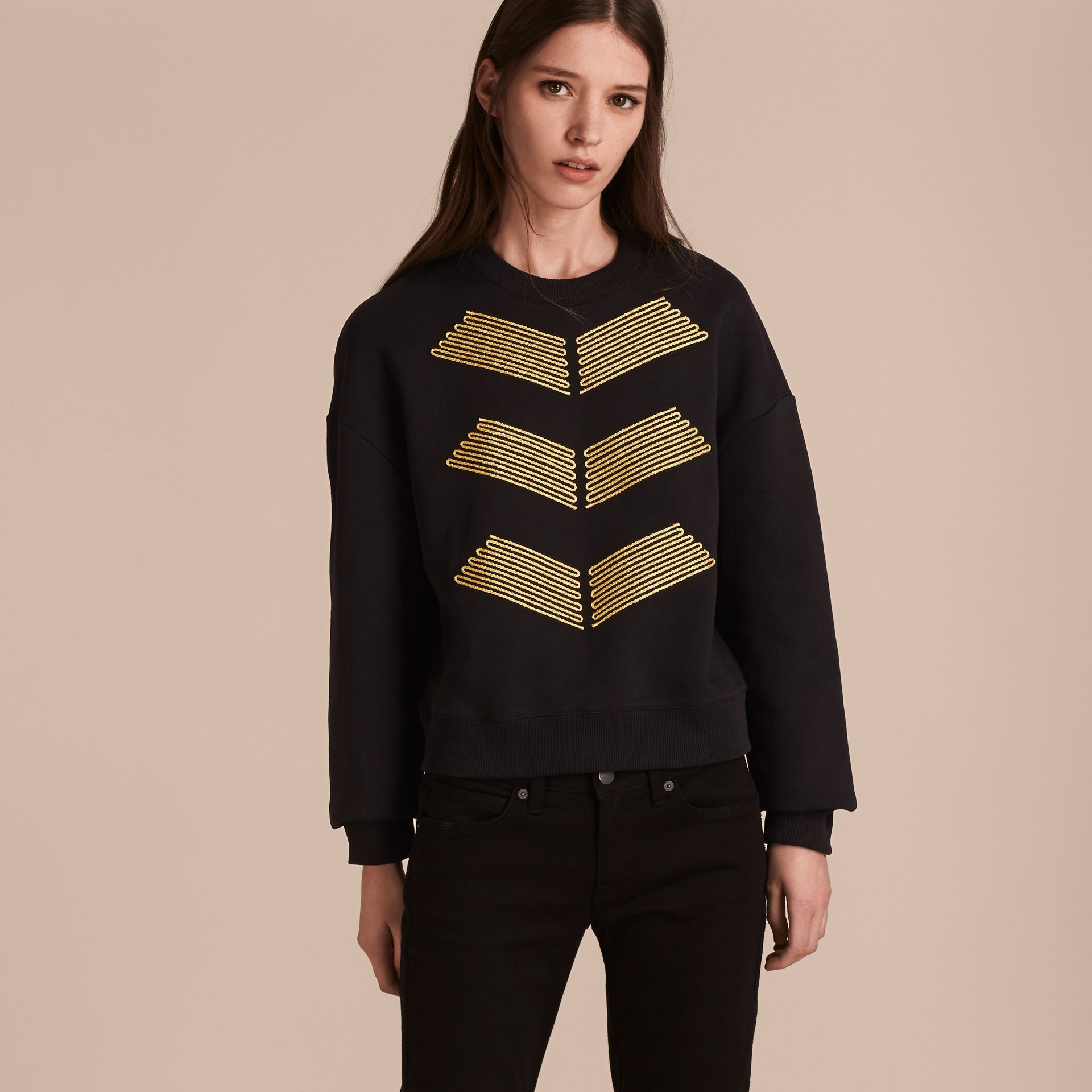 Black Cotton Blend Jersey Sweatshirt with Regimental Detail - gallery image 6